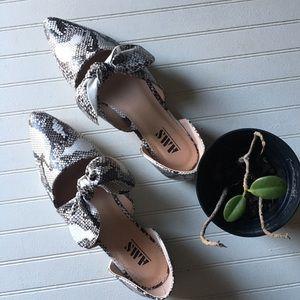 Snake Phyton women shoes mules Bow ribbon